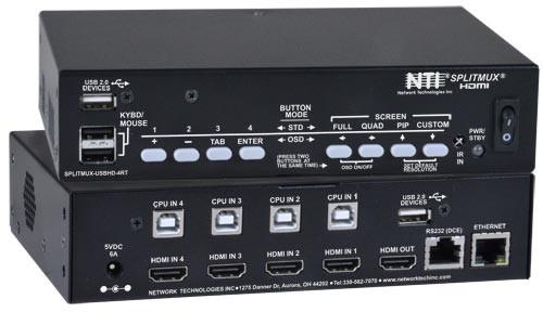 SPLITMUX-USBHD-4RT (Front & Back)