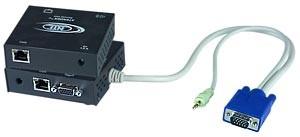 VGA + Audio extender via CAT5, local & remote monitor & speakers, up to 600 feet (183 meters)